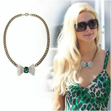 Costume Statement Necklace Mi Long Gold Pendant Bow Green Emerald Retro FUN4
