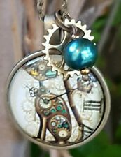 �� ROBOT CAT NECKLACE w GEAR CHARM �� STEAMPUNK JEWELRY �� FUNKY CAT NECKLACE ��