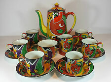 "FABULOUS ROYAL WINTON ART DECO ""JAZZ"" COFFEE SET FOR SIX"