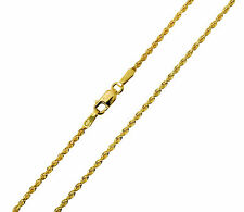 14K Solid Yellow Gold Diamond Cut Rope Chain Necklace 1.5mm 22""