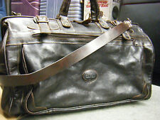 VINTAGE FOSSIL-brown Bullhide Leather Duffle/Luggage carry on Bag