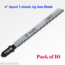 "10x T101B 4"" 100mm T-shank Upcut Jig Saw Blades fits Bosch HCS Wood Cutting"