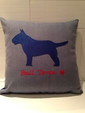 Bespoke Design English Bull Terrier Dog Luxury Hand Made Cushion Moleskin Gift