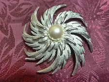 "SARA COVENTRY Pinwheel Brooch Pin VINTAGE Big 3"" Silver tone"