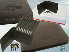 New Authentic LACOSTE LEATHER WALLET Elegance 10 Brown 9 CC