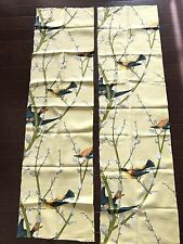 VINTAGE 50s YELLOW ORANGE BIRD PUSSY WILLOW PRINT BARKCLOTH -2PC REMNANT