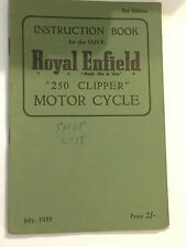 ROYAL ENFIELD 250 CLIPPER MOTORCYCLES OWNERS INSTRUCTION BOOK MANUAL 1955