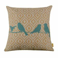 """LINKWELL 18"""" x 18"""" inches Forest Blue Bird Yellow Ikat Geometry Burlap Pillow Co"""