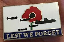 LEST WE FORGET POPPY REMEMBRANCE RAF BOMBERS  ENAMEL PIN BADGE