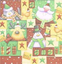 PENGUIN, SANTA  12  x 12 SCRAPBOOK PAPER - CHRISTMAS CHARACTERS ** 2 SHEETS**