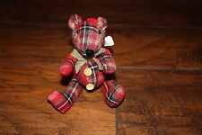 Pottery Barn Plaid Teddy Bear Tree Ornament New with tags