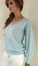 MARCCAIN Women's Pullover N1 34 XS Wool Silk Cashmere Rhinestones Light blue