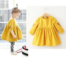 Baby Girl Yellow Casual Princess Dress T-shirt Tops Tutu Clothes Party Clothing