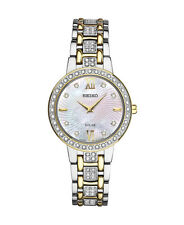 New Seiko SUP360 Solar Two Tone Stainless Steel Swarovski Crystals Ladies Watch