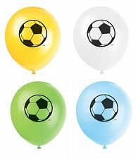 "8 x Football Soccer Assorted 11"" Latex Balloons Ideal Birthday Party Decoration"