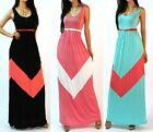COLOR BLOCKED EMPIRE WAISTED JERSEY KNIT FULL LENGTH LONG MAXI SUN DRESS S M L