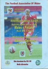 WALES v FINLAND & GERMANY 2010 at CARDIFF FOOTBALL MEDIA INFO BOOKLET