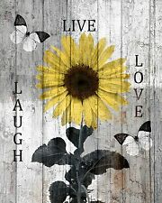 Rustic Sunflower Decor, Live Laugh Love Home Wall Art Matted Picture