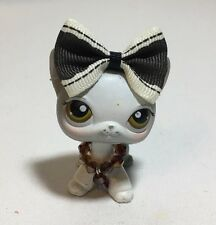 Littlest Pet Shop #138 White-Gray Short Hair Kitty Cat, Brown Eyes.