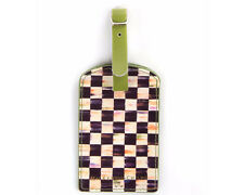 Mackenzie Childs COURTLY CHECK LEATHER LUGGAGE TAG NEW $26 mc15