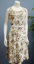 Vintage Button Front Sleeveless White Floral Cotton Mix Dress With Belt Size M