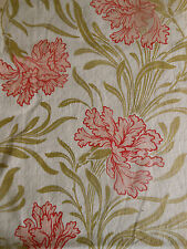 Antique French Art Nouveau Floral Iris Cotton Fabric ~ Softened Pink Red Green