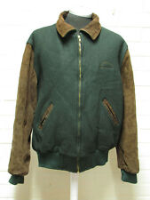 VTG Holloway Brown Suede Leather Sleeve Bomber Jacket - Green Wool *MADE IN USA*