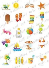 20 SUMMER BEACH WATER SLIDE NAIL ART DECALS CUTE! 20 ASSORTED DESIGNS