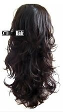 Dark Brown 3/4 Wig Hair Piece Layer Long Wavy Half Wig  055-4