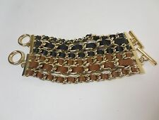 Banana Republic Luxe Leather Gold Link Toggle Braclet NIP $59.50 Black Tan Set 2