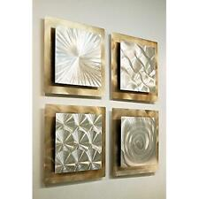 Set of 4 - Silver & Gold Metal Wall Art Accent Sculpture Decor by Jon Allen
