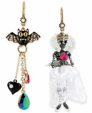 BETSEY JOHNSON 'Dark Shadows' Skeleton Skull Bride Bat Earrings