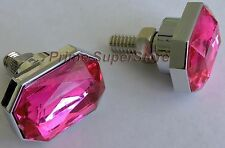 License Plate Frame Fasteners/Screws Chrome/Pink Ruby Caps Cover Plastic & Metal