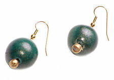 SHIMMERY EMERALD GREEN PAINTED WOODEN BEAD ON GOLD METAL HOOK EARRINGS (ZX48)