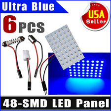 6X Car Ultra Blue T10 BA9S Festoon LED 48SMD Panel Interior Dome Map Door Lights