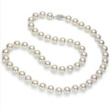 "AAAAA Japanese Akoya Cultured Pearl 7mm,14K white Gold Necklace 17"" Top Grading"