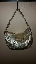 COACH Soho Pleated Metallic Hobo Bag Platinum Gold Leather Z20906