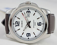 Casio MTP1314L-7AV Men's Large Analog Watch White Dial Leather Band Date New