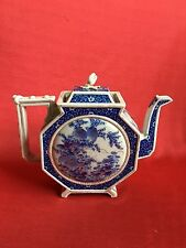 Octangle Antique Chinese Blue and White Teapot with Gold Accent mid 19th Century