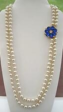 Opulent Vintage Double Row Cream Faux Pearl Necklace - Flower Clasp