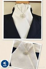 HHD White Cotton Damask Pretied Show Stock Tie... Dressage..Stock Pin included
