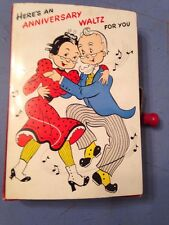Rare 1950's Vintage Mattel Hand Crank Musical Anniversary Greeting Card