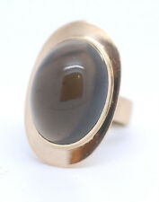 Genuine Large Oval Cabochon Smoky Quartz 14K Yellow Gold Ring Size 6 Beautiful