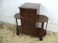 Antique 30s Art Deco Machine Age Table Smoker Stand Copper Lined Humidor Storage