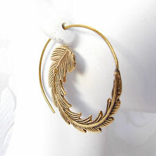 Spiral Brass Hoop Earrings Gold Plated Leafy Boho Chic Earrings Tribal Jewelry