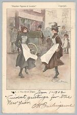 1902 GB PC THE STREET ORGAN FAMILIAR FIGURES OF LONDON CANCEL POSTCARD TO RUSSIA