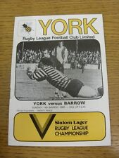 14/03/1982 Rugby League Programme: York v Barrow  . Condition: We aspire to insp