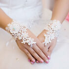 Full lace BRIDAL glove WEDDING PROM PARTY COSTUME Short GLOVES Fingerless Ivory