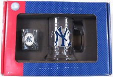 NIB NEW YORK YANKEES GLASS MUG STEIN SHOT GLASS COLLECTIBLE GIFT SET MLB LOGO