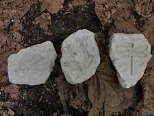 """4 1/2"""" Long Cement Fossil Set of 3 Garden Concrete Statue Dragonfly Fish Frog"""